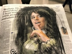 This artist sketches charcoal onto newspapers then gives her work away for free