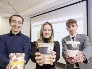 Pic by Adrian Miller 30-03-21 Grammar School - Guernsey Dairy Ice Cream project - students have been coming up with their own ideas for flavours and giving a presentation to judges. L>R Geraint Rosser 16, Amelia Hart 17 and Jack Reed 16.. (29386963)
