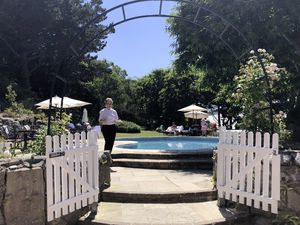 Herm's White House Hotel pool area. (Image supplied by Herm Island)