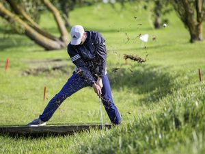 Ravenscroft Guernsey Open Matchplay Golf Quarter-finals, 26-06-19. Darren Leng splashes out of a douit on the fifth hole at La Grande Mare and went on to make a brilliant par save to halve the hole with Jeremy Nicolle. Picture by Martin Gray (25060493)