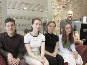 Since 2017, Art for Guernsey has provided a summer scholarship to two finalists of the Sovereign Art Foundation art competition.These are the 2019-2020 scholarisp winners who are going to London on Sunday 15 Auguest.L to R: Timothy Neal (17), Jasmine Mogan (17), Lucy Mauger (18) and Millie Hynes (18).With Jock Pettitt, director of Art for Guernsey. (29862986)