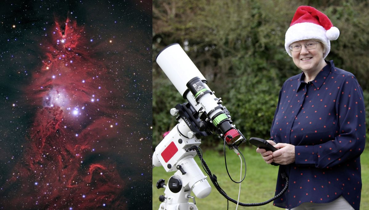 Dr Jean Dean in her back garden with an image of a tree-shaped nebula, left, called the Christmas Tree Cluster, which is 2,600 light years from Earth. Dr Dean, a member of La Societe Guernesiaise's astronomy section, had to wait out in the cold for more than five hours to capture the shot.