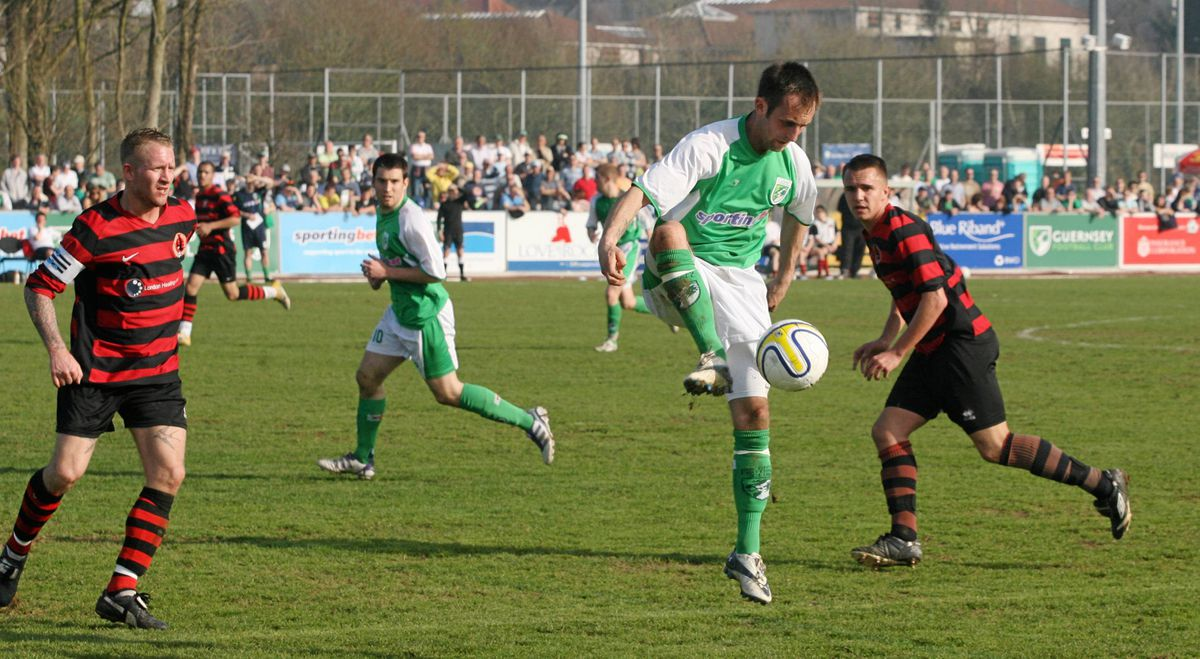 Hello again... Nine years have past since the Green Lions were beating Bedfont Sports in a vital top of the table Combined Counties League Division One clash at Footes Lane. The two sides will renew acquaintances in the Isthmian South Central league next season. (Picture by Adrian Miller, 29563852)