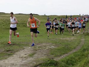 ATHLETICS - Opening race of the FNB Cross-Country Series on the Stonecrusher Course at L'Ancresse, 17-10-20. Sam Lesley and James Pirest lead the field at the start of the race