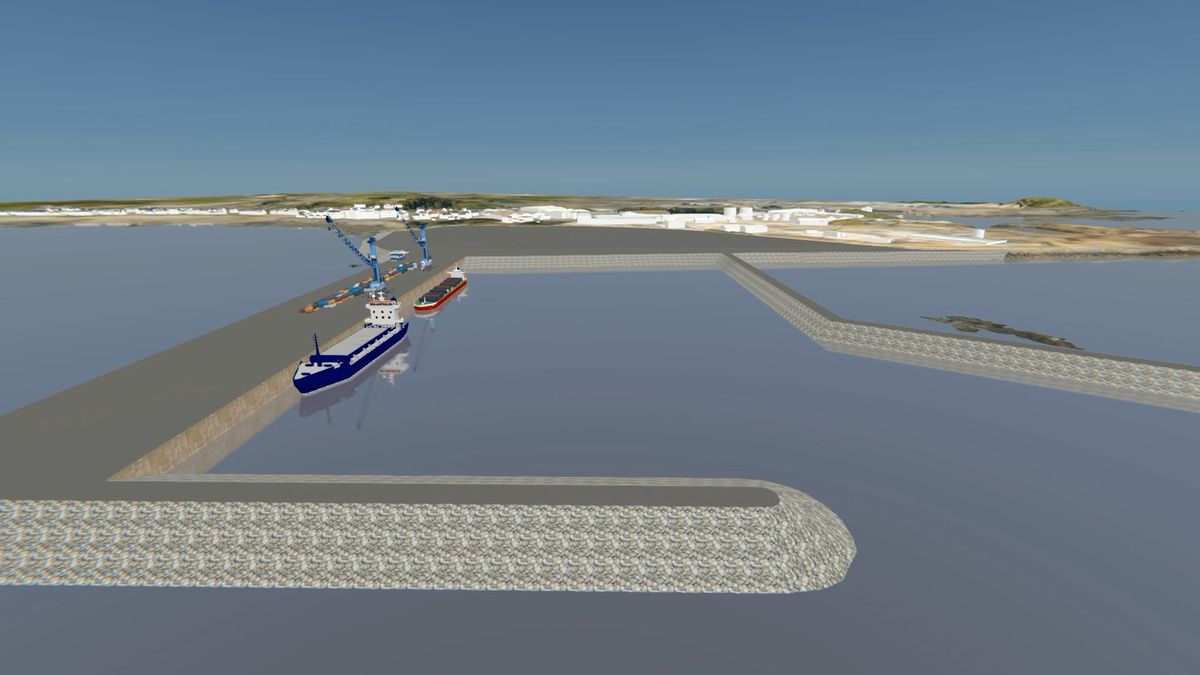 3D representation of the preferred option for the harbour redevelopment. The new facility south of the Longue Hougue land reclamation site. Image supplied by STSB and Guernsey Ports. (29533161)