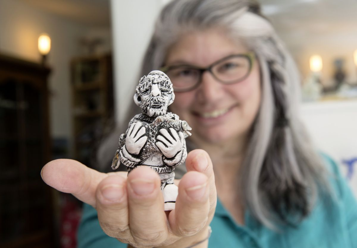 Yasmin Mariess with a chess piece from a set that has taken over two years to make and is to be used for the International Chess Festival 20-26 October. (Picture by Adrian Miller, 25840901)