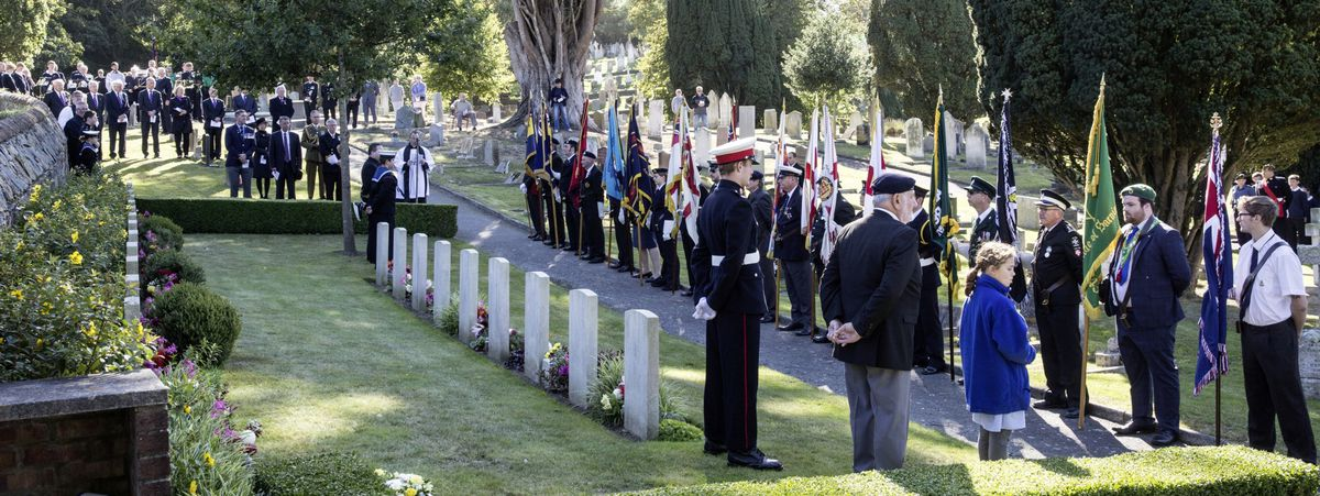 Pic by Adrian Miller 27-09-20 Foulon Cemetery. Remembrance service for H.M.S. Charybdis and H.M.S. Limbourne . (28735077)