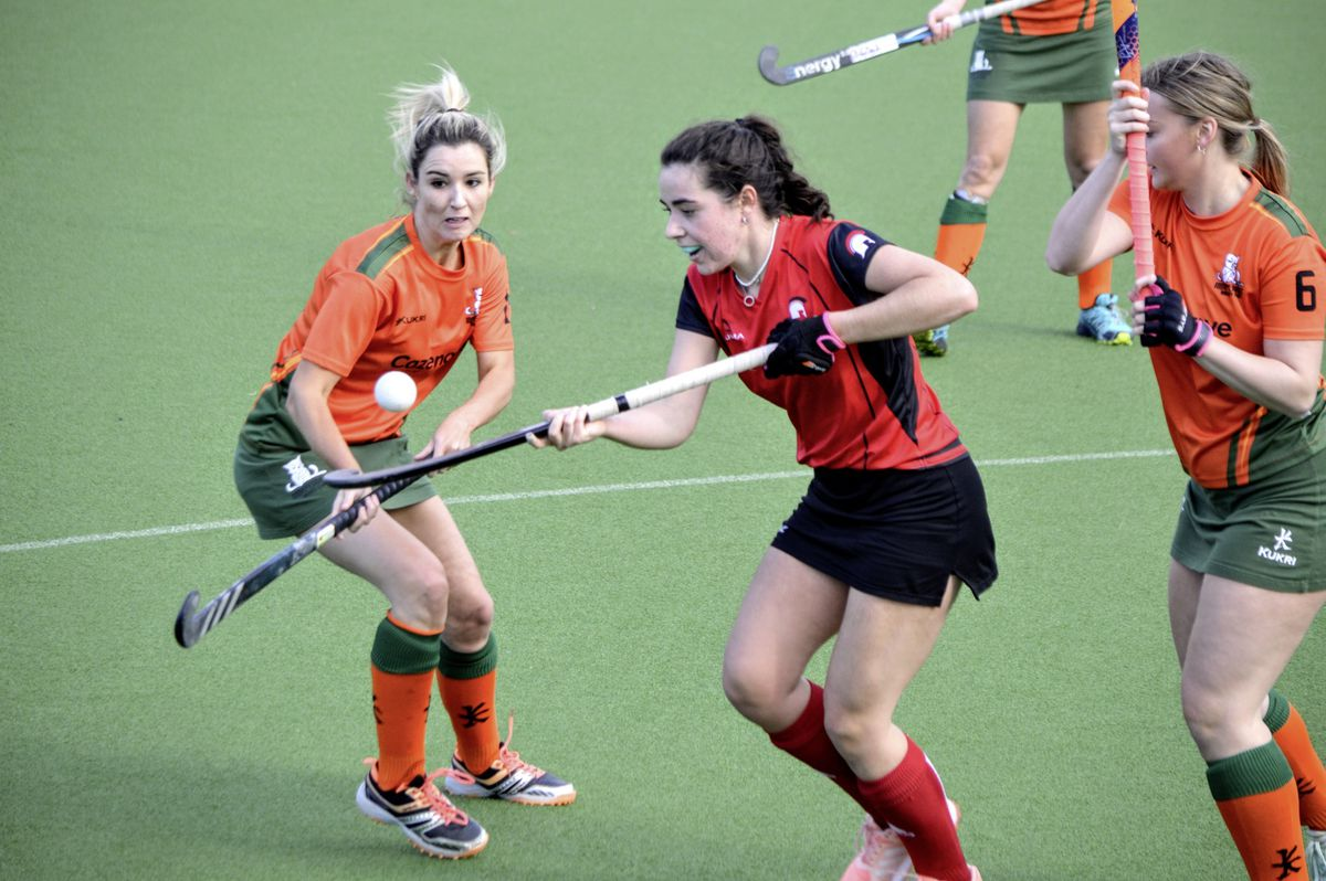 Amazons midfielder Laura Cashin uses a neat piece of stick-work to get out of a tight spot at Footes Lane on Saturday. (Picture by Gareth Le Prevost, 28787666)