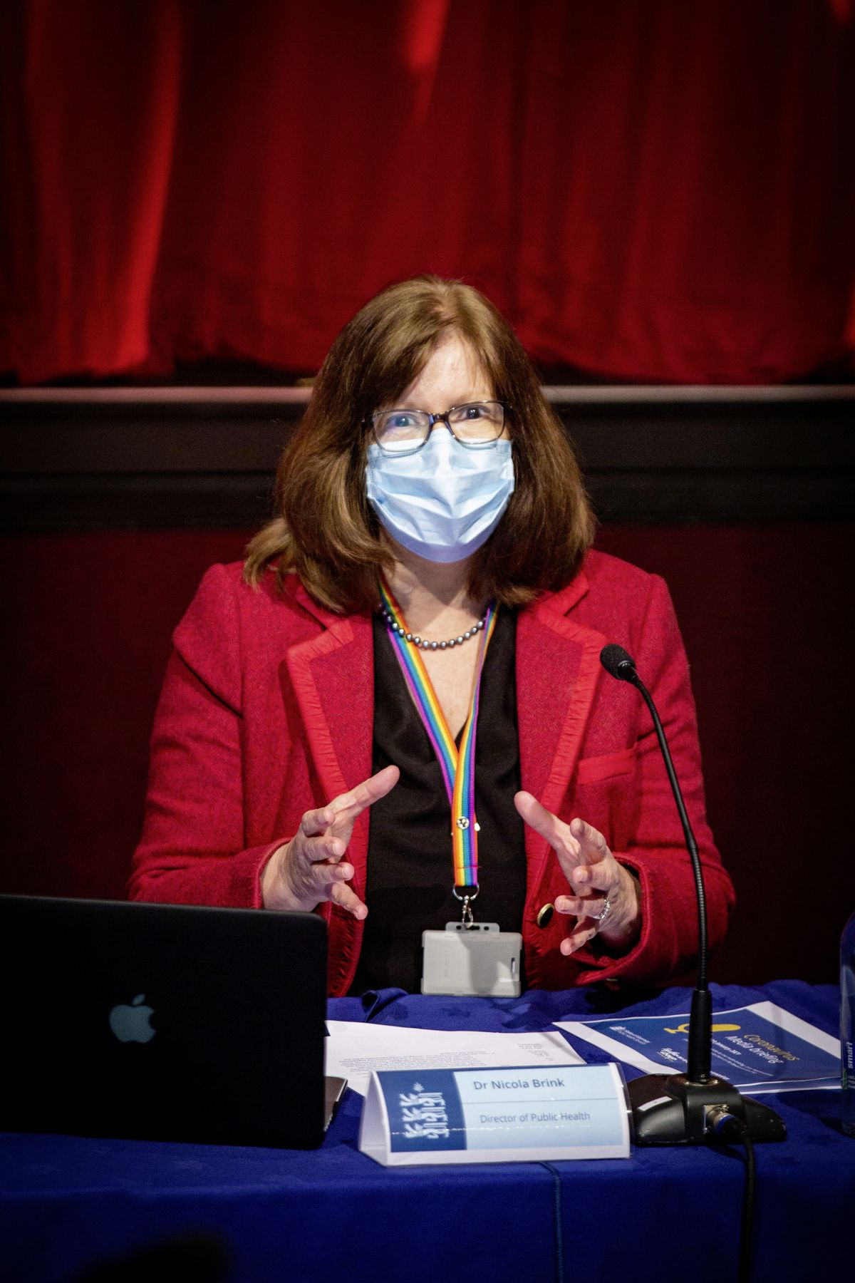 Director of Public Health Dr Nicola Brink at a previous press briefing wearing a face mask. (Picture by Sophie Rabey, 29184614)