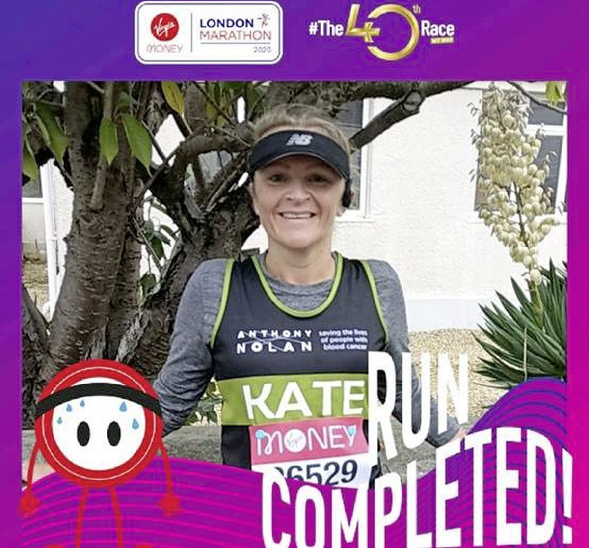 Kate Walford after she completed the virtual Virgin London Marathon 2020. She was commended in the Shirley Nolan Special Recognition Award category at the Anthony Nolan Supporter Awards, at which Oscar-winning actress Olivia Colman was a guest presenter and mentioned her name.