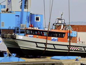 The Little Ferry Company's Spike Islander being craned out for transport to the Isle of Wight. (Picture by Dylan Ray)
