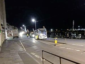 A BUS operated by CT Plus that was not in service collided with the central reservation at The Quay, St Peter Port, at about 6.30am yesterday. Pic supplied. (29099815)