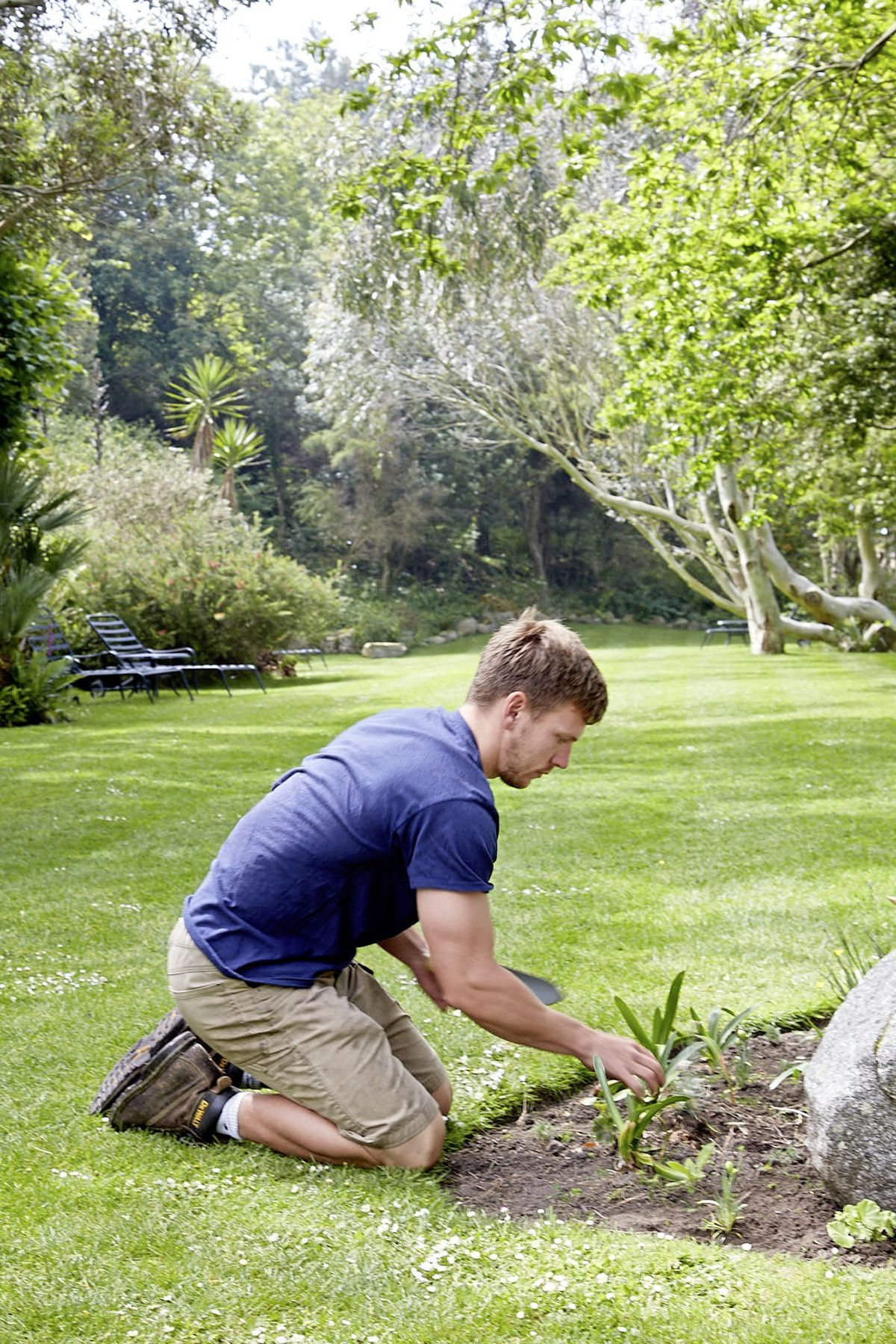 Herm Island's head gardener Liam Gaughan tending to some flower beds. (Image supplied by Herm Island)