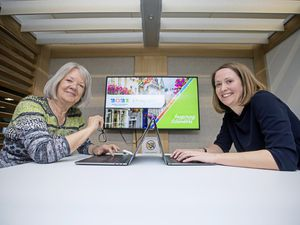Picture By Peter Frankland. 18-02-19 Planning is underway for the 2021 Island Games with a dedicated team based at Specsavers. L-R - Dame Mary Perkins and Julia Bowditch.. (23919185)
