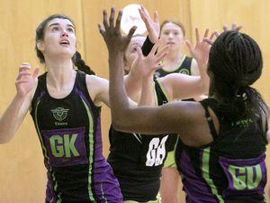 Pic by Adrian Miller 13-04-21 Grammar School netball Rezzers Black v T&T Purple. (29436017)