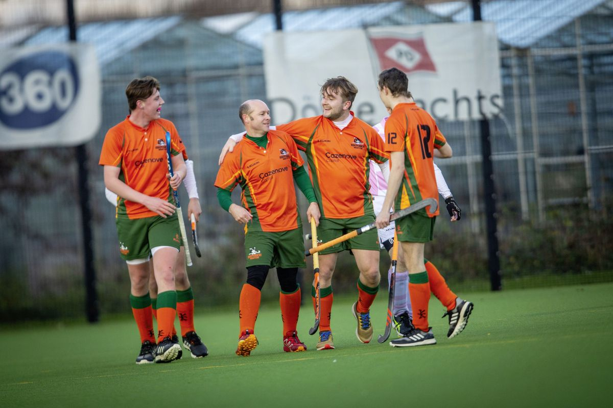 Indies forward Steve Waldrom, second from left, is congratulated on his brilliant first goal. (Picture by Sophie Rabey, 29095485)