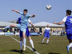 Balancing act: U18 striker Keene Domaille wins an aerial ball in a fine lone-striker role at Port Soif last weekend. He is one of several exciting prospects that need to be given a chance and carefully guided. (Picture by Martin Gray, 29451667)