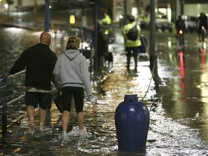 Pic by Adrian Miller 09-10-14.Road flooded at the Quay St Peter Port.10.01m high tide. (28703874)