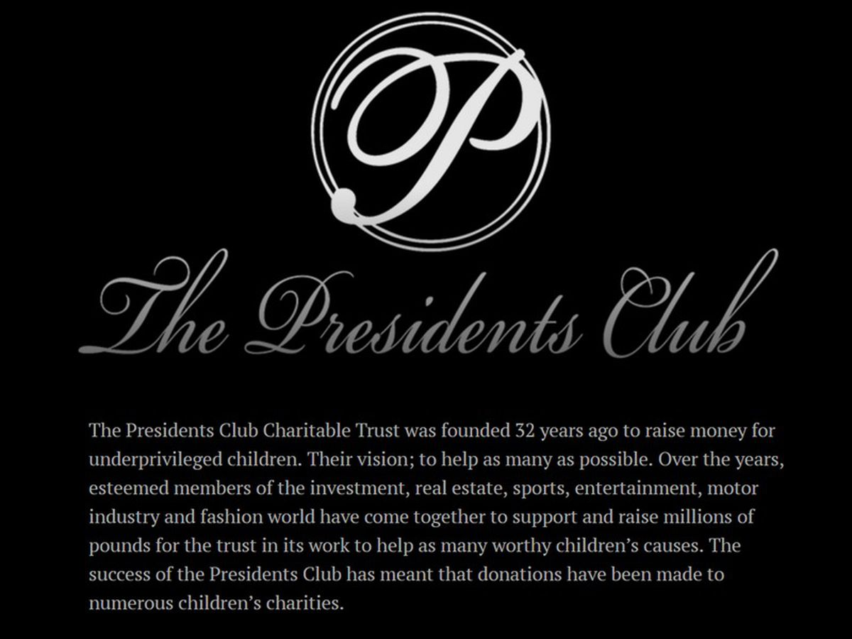 Presidents Club will not host any further fundraising events