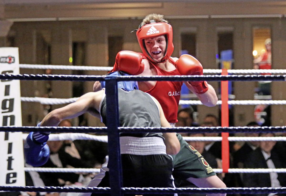 Off with the headguards: Mason Smale boxing at St Pierre Park before turning senior.