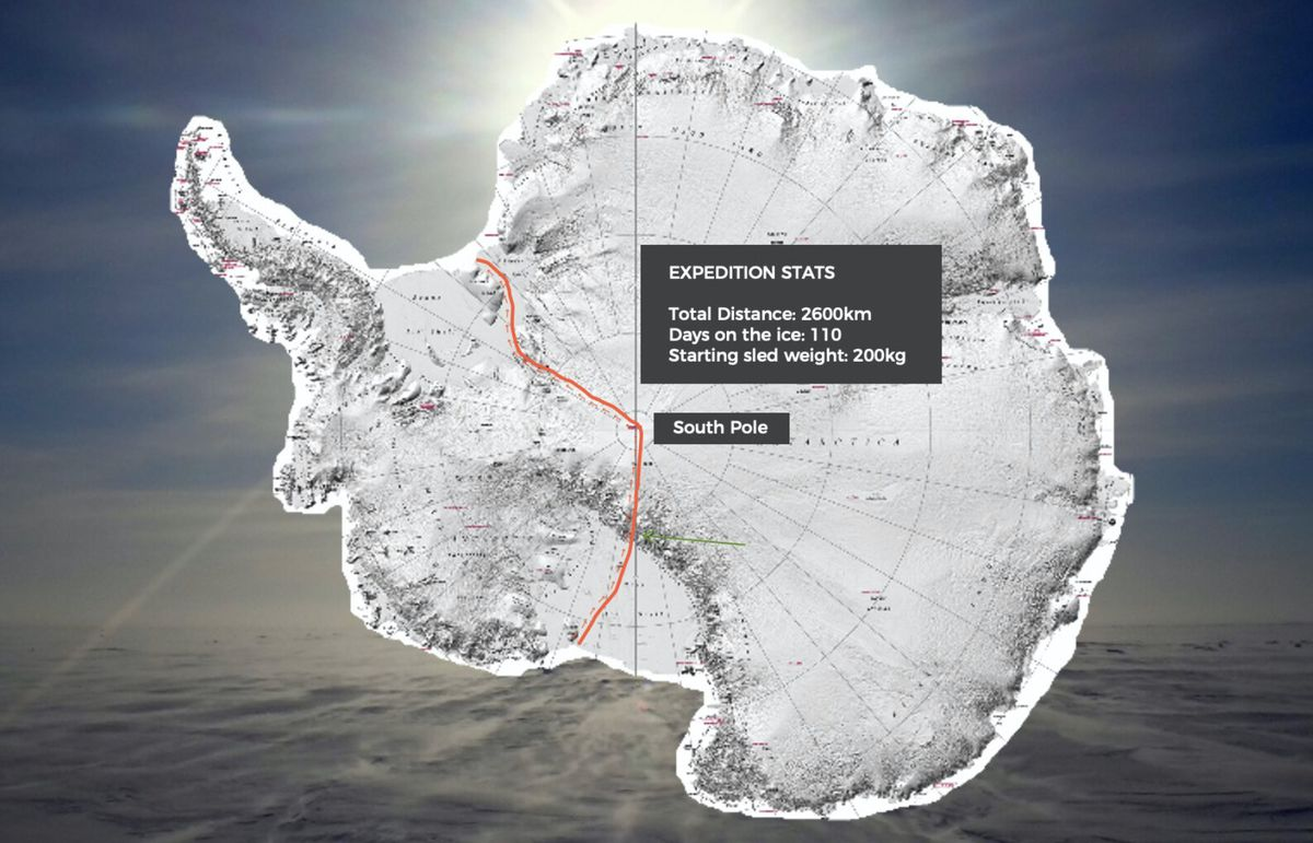 The red line indicates the route Dr Gareth Andrews and Dr Richard Stephenson will travel as they attempt to achieve the first unsupported crossing of Antarctica. (28801606)