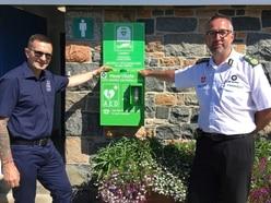 Defibrillator back at Portelet public toilets