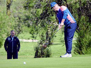 Saffery Champness Island Junior Golf Championship final at La Grande Mare, 08-06-19. Ollie Chedhomme (wearing glasses) against Rory McKenna (in black)...Picture by Gareth Le Prevost. (24897217)