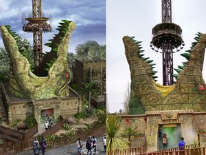 From vision to reality - the Croc Drop ride at Chessington, as visualised by Steve De La Mare and then as it appears now it is open to the public. (29443639)