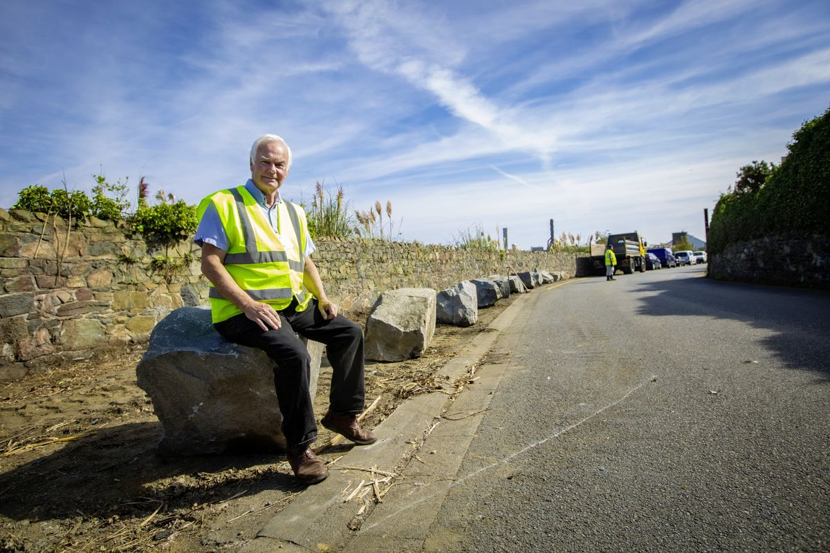 St Sampson's constable Paul Le Pelley in the Saltpans where boulders have been set down in place of the recently moved abandoned cars which had lain there for years. (Picture by Peter Frankland, 29998502)