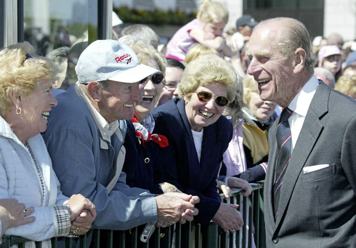 The Duke of Edinburgh chats to the crowd on a walkabout near the Weighbridge in 2005. (29421406)