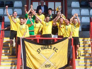 Football. Jeremy Cup final. St Paul's v Jersey Wanderers. St Pauls celebrate the treble. .Picture: JON GUEGAN. (29626956)