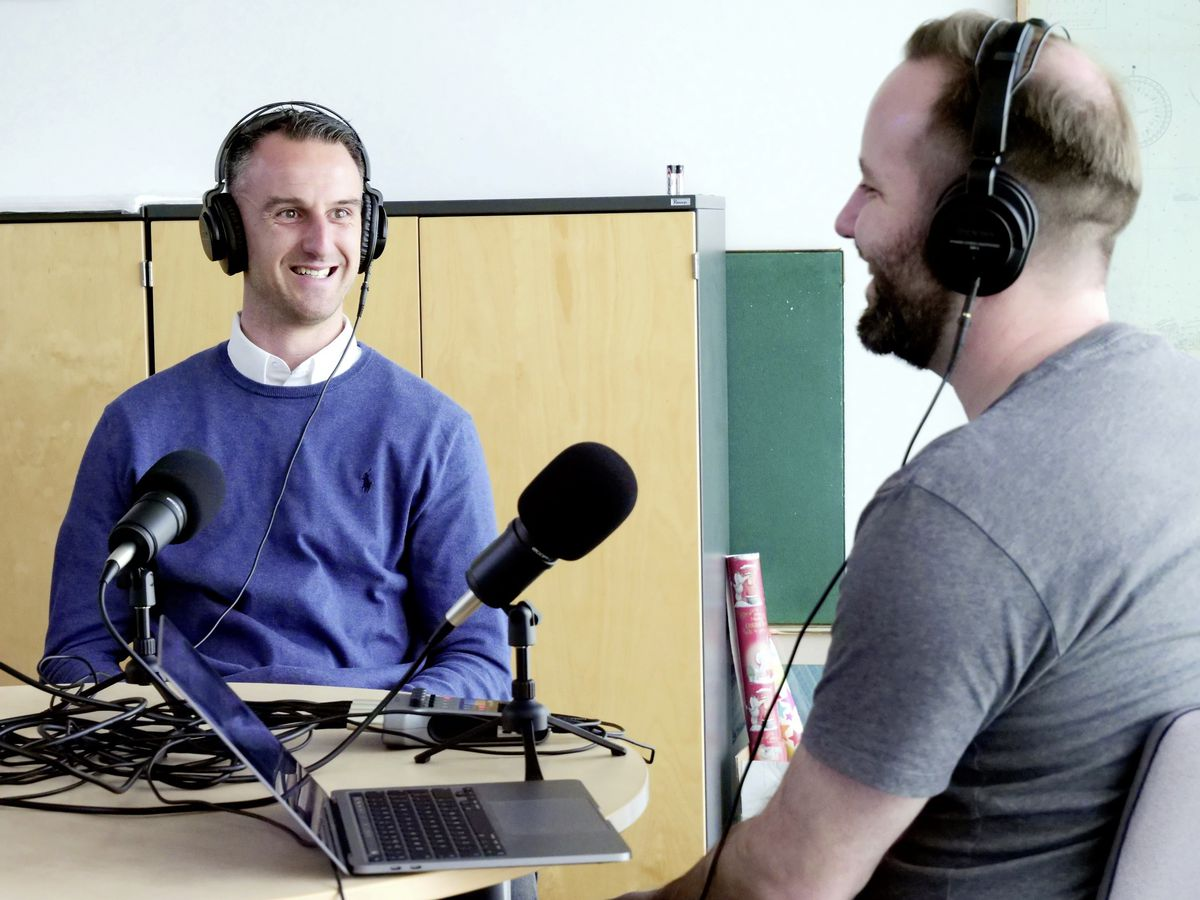 Guernsey Basketball's Pete Beausire enjoys a joke with host Tony Curr on the latest Guernsey Press Sport Podcast. (29443236)