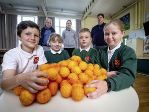 Picture By Peter Frankland. 05-07-21 Les Cotils is supplying 'Fruit for Schools' on a regular basis to provide students with a healthy snack..L-R - Jaylen Leadbeater, 9 Erica Bourgaize, 9, Alfie Bourgaize, 8 and Alba Cheetham, 9..Back are L-R - Tony Gallienne, Les Cotils Chairman, Lucie Le Prevost, yr 4 teacher and PSHE lead, and Steven Le Prevost of PWC.. (29727816)