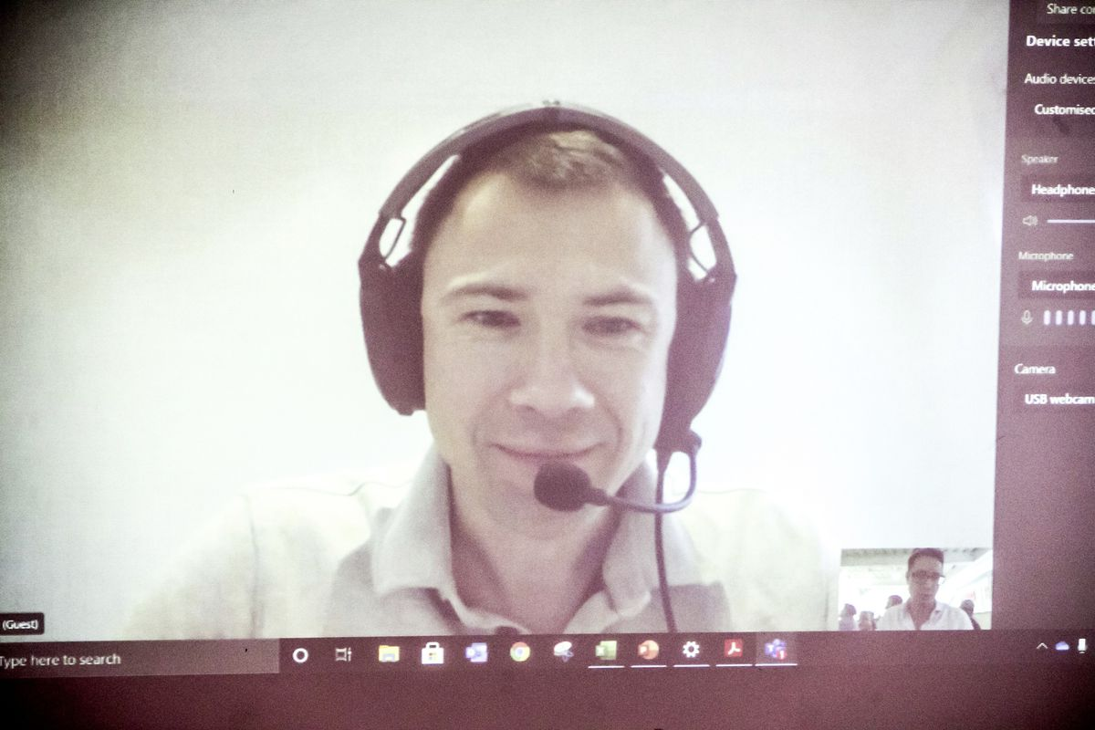 Live link with Sergey Kiselevm head of Europe for ZeroAvia. (29112761)