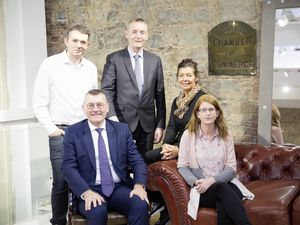 Exploring links with Rennes. Left to right: James Ede-Golightly, Institute of Directors Guernsey transport group; Bertrand Gervais, director of Ille-et-Vilaine Chamber of Commerce; Brian Murphy, Franco-British Chamber of Commerce co-ordinator; Kay Leslie, Guernsey Chamber director; and Elaine Loeillet of Ille-et-Vilaine chamber. (Picture by Adrian Miller, 26199339)