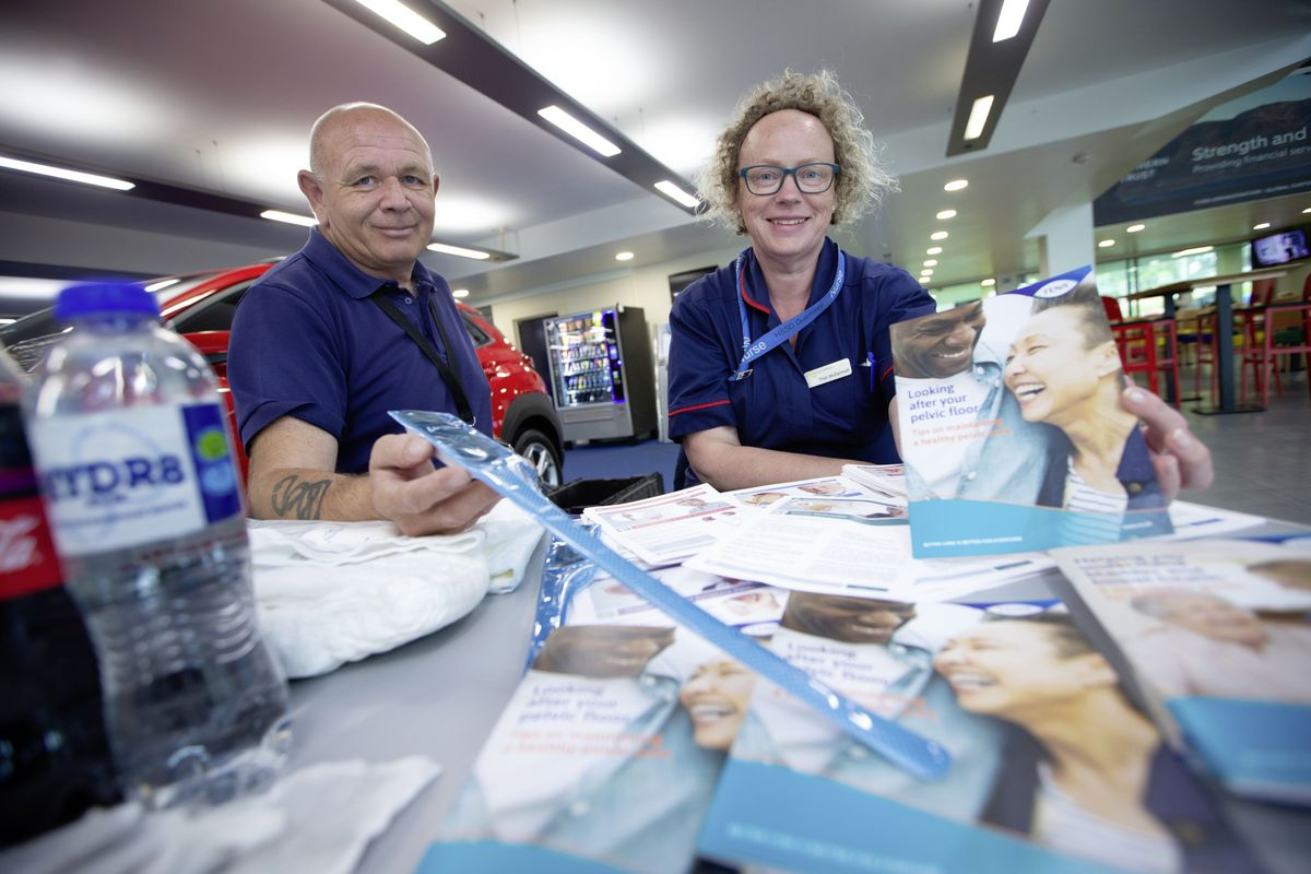 World Continence Week 2021 is a health campaign to raise awareness of continence related issues. A stall has been set up at Beau Sejour to raise awareness and to answer any questions people might have regarding continence issues. Left to right: Stephen Mundy, Urology Nurse Specialist is holding a catheter and Patricia McDermott, Consultant CNS Urology is holding an information leaflet about exercise. (Picture By Peter Frankland, 29679916)