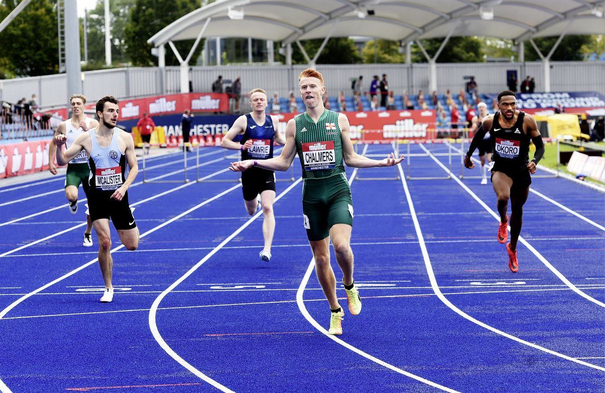 Golden moment: Alastair Chalmers wins the 400m hurdles national title in Manchester. (Picture by Mark Shearman, 28658536)