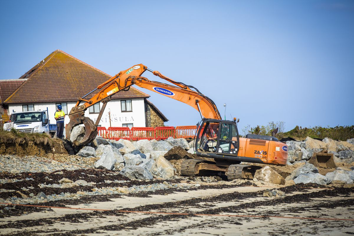 Work on the beach at Le Grand Havre, opposite The Peninsula Hotel. (Picture by Sophie Rabey, 28700972)