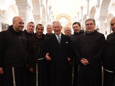 Charles walks through Bethlehem with Muslim and Christian leaders