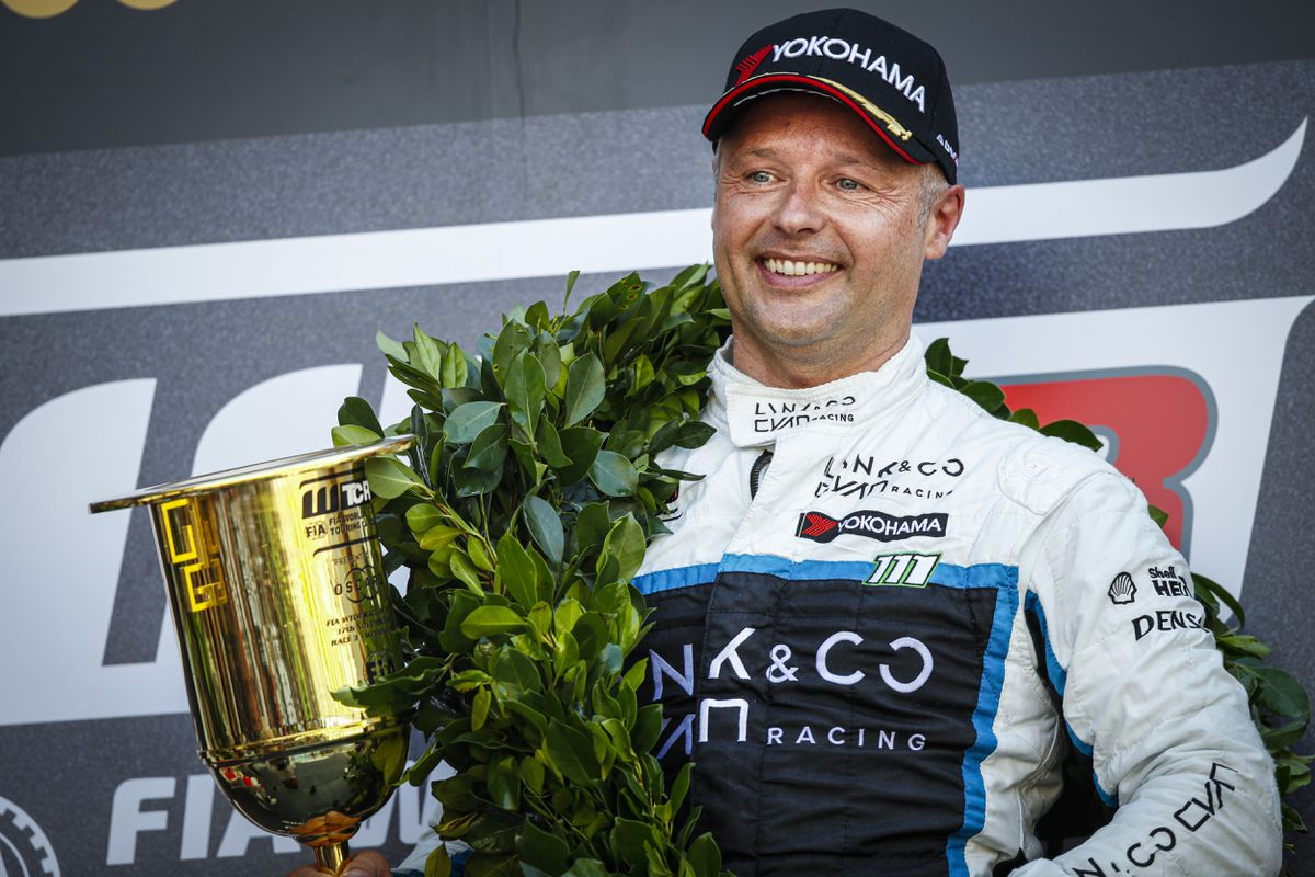 Andy Priaulx after his win in Macau for the Cyan Performance Lynk & Co team. (Picture by Florent Gooden / DPPI, 28370381)