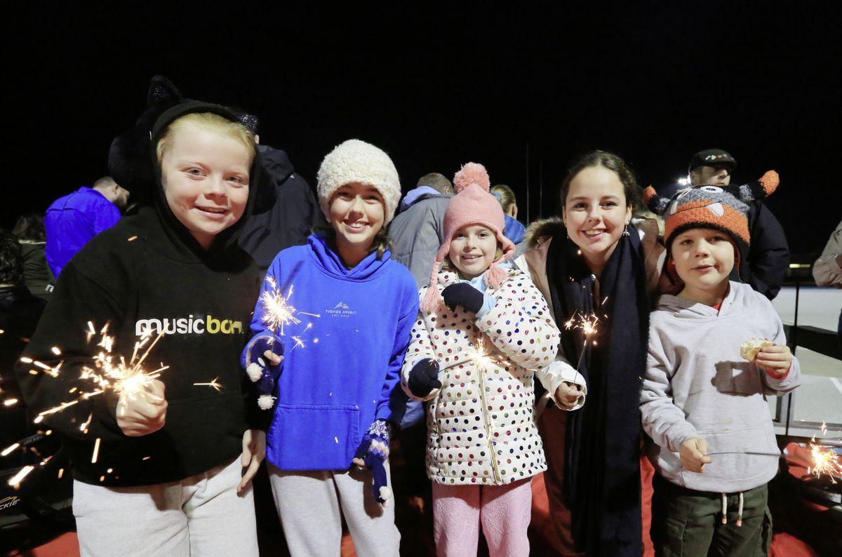 Sparklers for, left to right, Chloe Dawson, 10, Alix Le Noury, 11, Sophie Wallen, 9, Cait Le Noury, 13, and Josh Dawson, 7. (28887264)