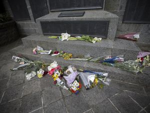 The Smith Street War Memorial on 11 May 2020 after the wreath laid the then-Bailiff Sir Richard Collas was vandalised. (Picture by Adrian Miller, 29417590)