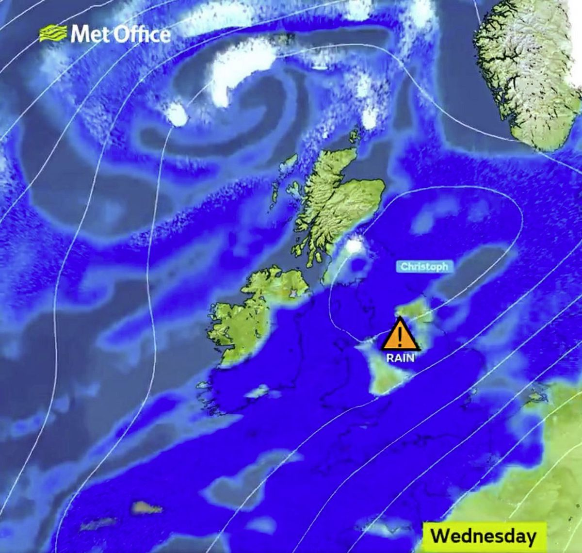 Storm Christoph has been named by the UK Met Office. Guernsey is forecast to be on the edge of the wet and windy weather. (29126977)