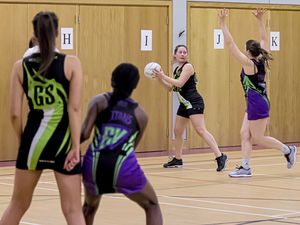 Picture By Steve Sarre 12-02-19.Grammar School .Netball Action .Resolution IT v Titans A. Anna Burns (23876156)