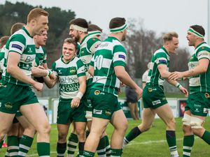 Guernsey Raiders v London Irish Wild Geese. raiders celebrate.www.guernseysportphotography.com .London & South-East Premier Rugby at Footes Lane. Picture by Martin Gray, 25-01-20.. (27036745)