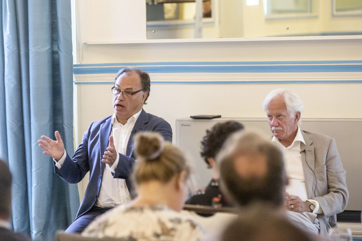 John Hollis, left, and Stuart Falla MBE at the Institute of Directors September seminar at the OGH. (Picture by Sophie Rabey, 28653356)