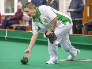 Picture by Sophie Rabey.  11-01-20.  Indoor Bowls Action for opening games of Channel Island Finals Weekend.  Guernsey vs Jersey Ladies 4's.  Alison Merrien MBE, Carol Ingrouille, Catherine Snell, Shirley Petit (Guernsey) F Archibald, C Staley, S Job, D Canavan (Jersey).. (27412420)
