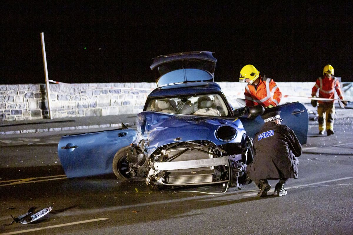 Single Car RTC on Les Banques in the early hours of this morning. (Picture by Guernsey Press, 29506161)