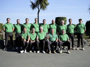 The 2021 Guernsey Golf Team who will be defending the Challenge Trophy at Grouville. Standing, left to right: Jeremy Nicolle, Tom Pattimore, Danny Bisson, Danny Blondel, Jamie Blondel, Tom Le Huray, Mick Marley, Ollie Chedhomme and reserve Rory McKenna. Seated, left to right: Steve Mahy, vice-captain Wayne Harwood, captain Dave Jeffery, GGU chairman Geoff Orme, Arthur Evans..Picture by Gareth Le Prevost, 06-09-21. (29964409)