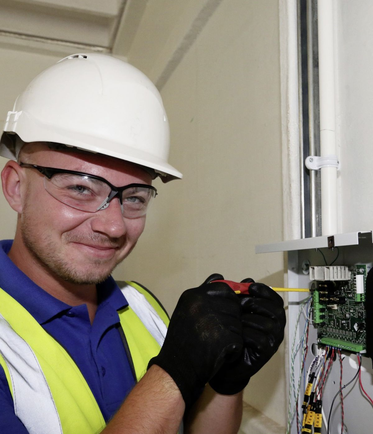 Matt Athon works on the electrics at the waste transfer station.                                 (22438513)